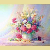 """Схема для вышивания лентами  ASTREA """"Акварельные цветы"""""""