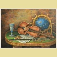Набор алмазной вышивки АЛМАЗНАЯ ЖИВОПИСЬ «Скрипка и глобус»