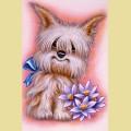 Набор алмазной вышивки  АЛМАЗНАЯ ЖИВОПИСЬ «Пес с цветами»
