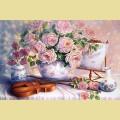 Набор алмазной вышивки  АЛМАЗНАЯ ЖИВОПИСЬ «Розы и скрипка»
