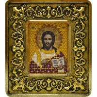 """Набор для вышивания в смешаной технике с рамкой INS+ """"Христос Спаситель (золото, лилии)"""""""