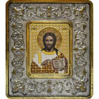 """Набор для вышивания в смешаной технике с рамкой INS+ """"Христос Спаситель (серебро, лилии)"""""""