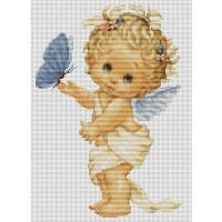 """Набор для вышивания крестом LUCA-S """"Ангелочек с бабочкой"""""""