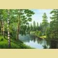 """Набор алмазной вышивки АЛМАЗНАЯ ЖИВОПИСЬ """"Река в лесу"""""""