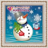 """Набор алмазной вышивки АЛМАЗНАЯ ЖИВОПИСЬ """"Снеговик с подарком"""""""