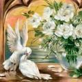 """Набор алмазной вышивки АЛМАЗНАЯ ЖИВОПИСЬ """"Голуби у белых роз"""""""