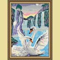 "Картина стразами АРТ СОЛО ""Лебеди у водопада"""