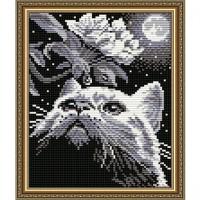 Алмазная вышивка Кот с веточкой
