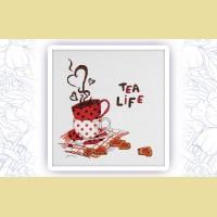 """Набор для вышивания нитками ASTREA  """"Чай это жизнь"""" 006"""
