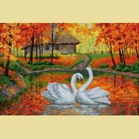 """Картина стразами Вышиваем бисером """"Лебеди на пруду"""""""