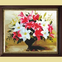 """Картина по номерам COLOR KIT """"Бело-красных лилий букет"""""""