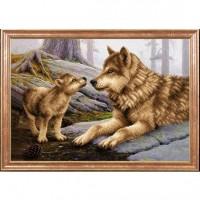 Схема для вышивания  Волчица с волченком
