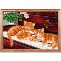 Схема для вышивания  Котята на пианино