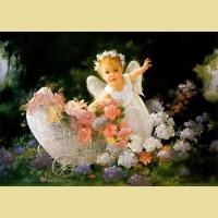 """Схема для вышивания лентами  ASTREA """"Ангелок в саду"""""""