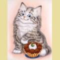 Набор алмазной вышивки  АЛМАЗНАЯ ЖИВОПИСЬ «Кот и пирожное»