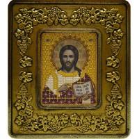 """Набор для вышивания в смешаной технике с рамкой INS+ """"Христос Спаситель (золото, виноград)"""""""
