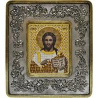 """Набор для вышивания в смешаной технике с рамкой INS+ """"Христос Спаситель (серебро, виноград)"""""""