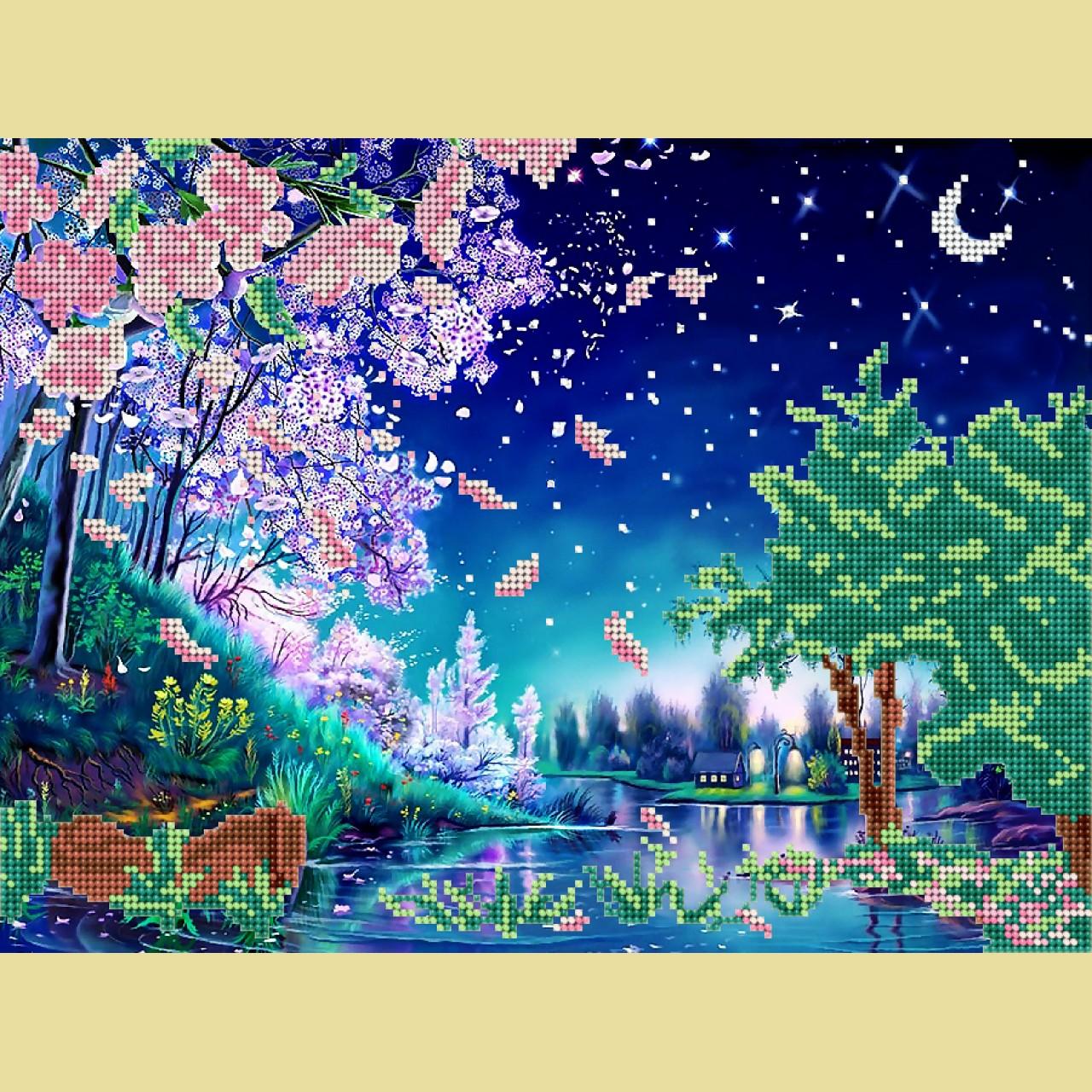 Скачать схему вышивки Riolis 1088 Ван Гог Звёздная ночь 39