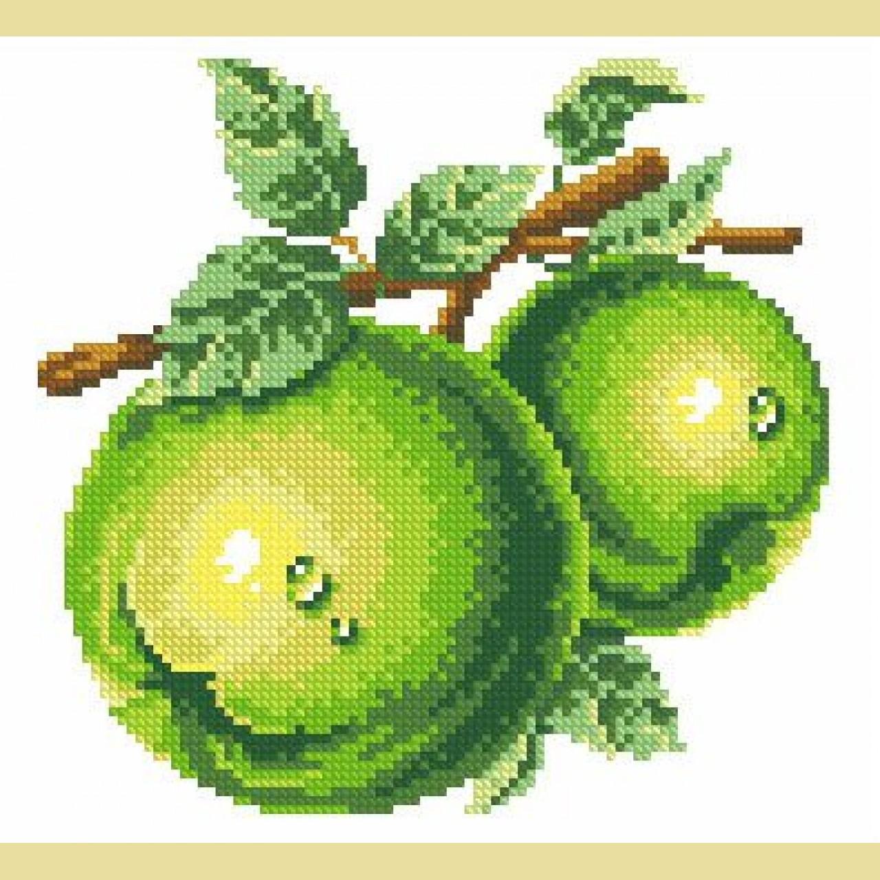 Алмазная вышивка зеленые яблоки 29