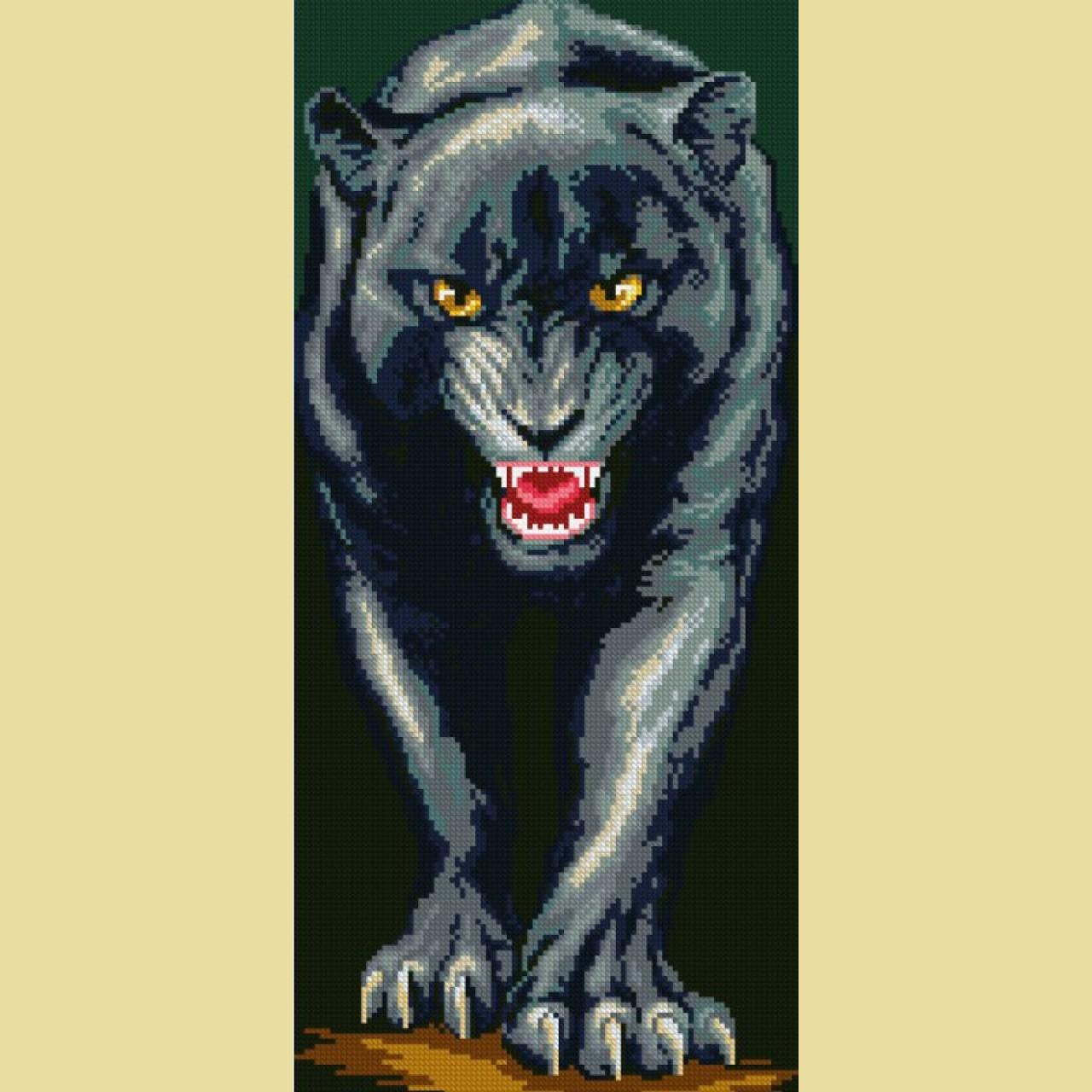 Алмазная вышивка чёрная пантера 89