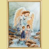 """Набор картины со стразами ЧАРИВНА МИТЬ """"Ангел и дети"""""""