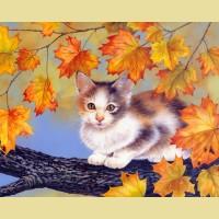 """Набор для вышивания бисером COLOR KIT """"Котенок на дереве"""""""