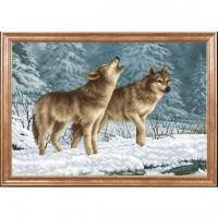 Схема для вышивания  Волки на снегу