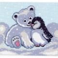 Рисунок на канве Мишка и пингвин
