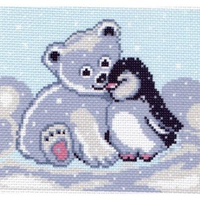 """Схема для вышивания МАТРЕНИН ПОСАД """"Мишка и пингвин"""""""