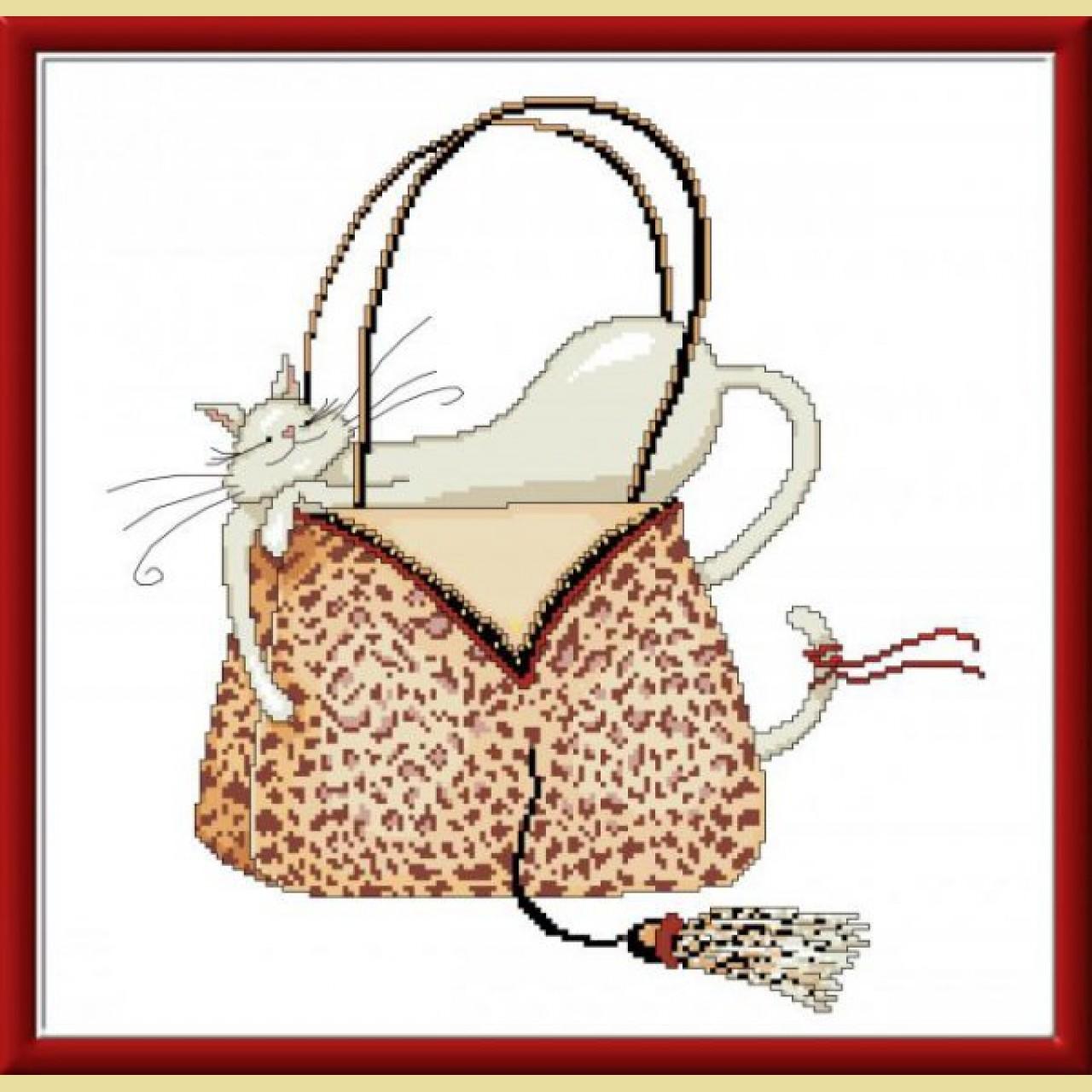 Кошки в сумочках вышивка